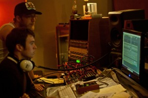 Listening back to recordings during the Hip Hatchet sessions at Map Room