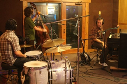 Langhorne Slim Recording setup for their Luxury Wafers session at Chessvolt Studio