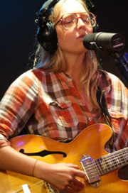 Lissie recording a Luxury Wafers live video session at Chessvolt Studios