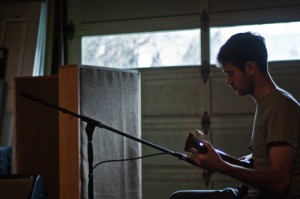 Sharpeye recording guitar at Badlands studio in Portland