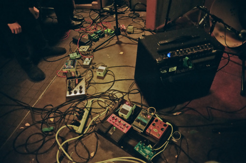 Pedals on the floor of Badlands during the Ben Seretan sessions